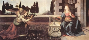 The Annunciation painting by Leonardo da Vinci