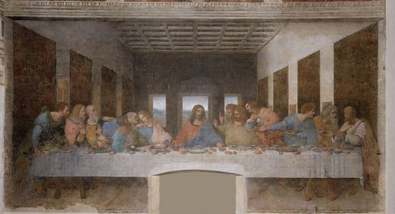 The Last Supper measures 450 × 870 cm (15 feet × 29 ft) and covers an end wall of the dining hall at the monastery of Santa Maria delle Grazie in Milan, Italy.